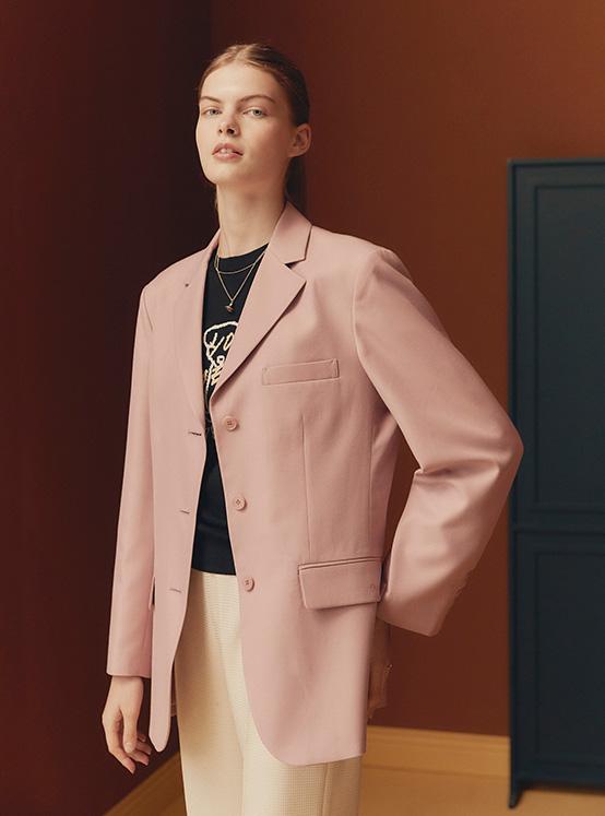 Oversized Single Jacket in Indi Pink_VW0AJ1760