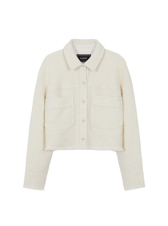 Tweed Crop Jacket in Ivory_VW0AJ2080