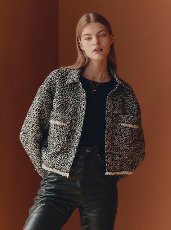Tweed Crop Jacket in Black_VW0AJ2080