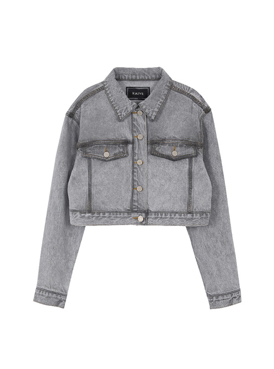 Cropped Denim Jacket in L/Grey_VJ0AJ2140