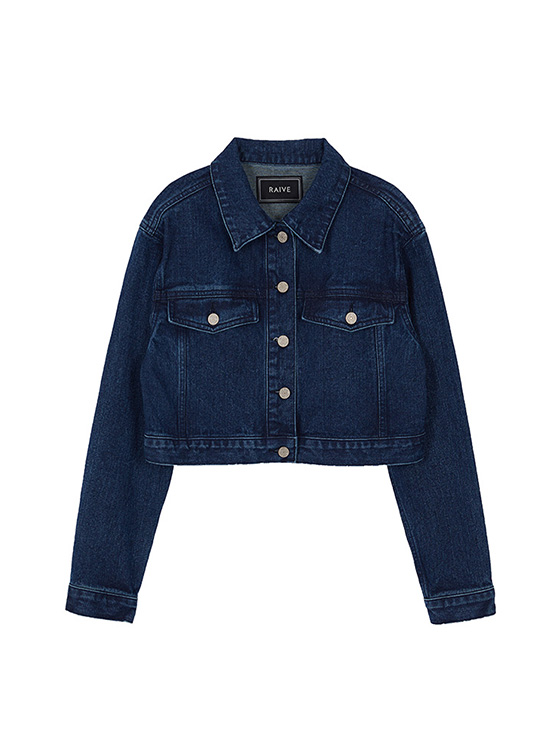 Cropped Denim Jacket in Indigo Blue_VJ0AJ2140