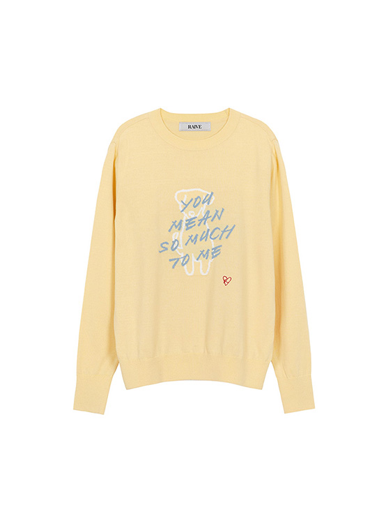 Lettering Jacquard Knit in L/Yellow_VK0AP2200