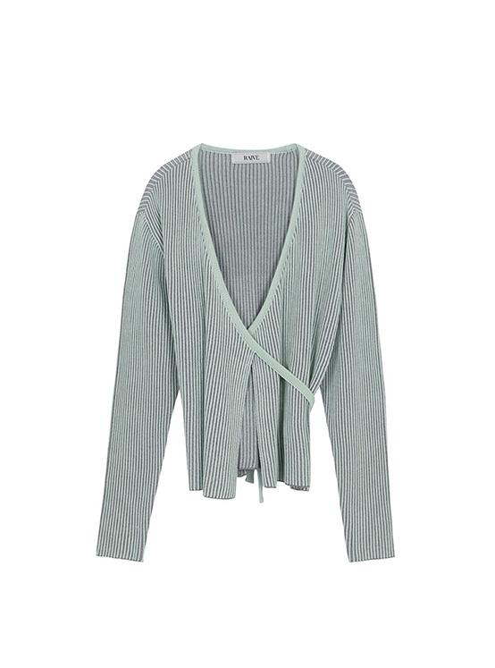 Two Tone Wrap Knit in Mint Grey_VK0AP2210