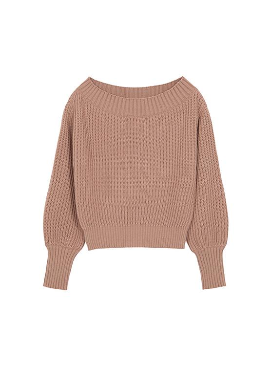 Warmer Off The Shoulder Knit in Beige_VK0AP2220