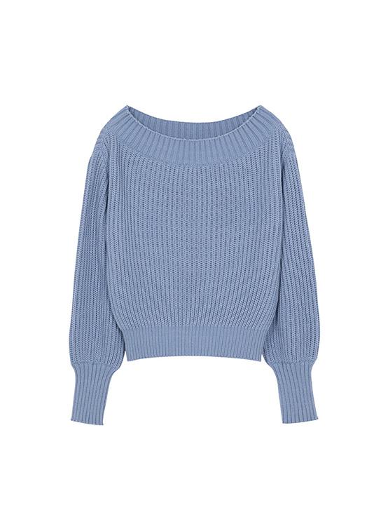 Warmer Off The Shoulder Knit in Blue_VK0AP2220