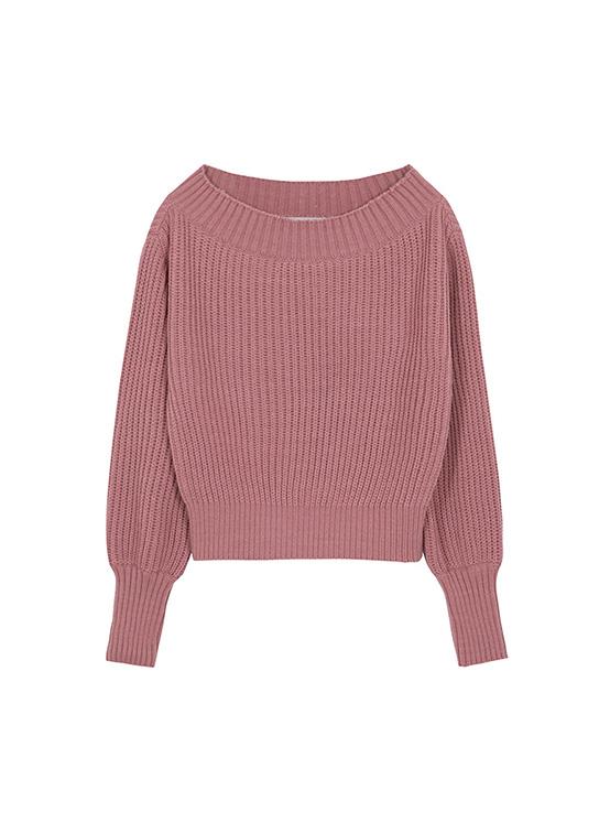 Warmer Off The Shoulder Knit in Rose Pink_VK0AP2220