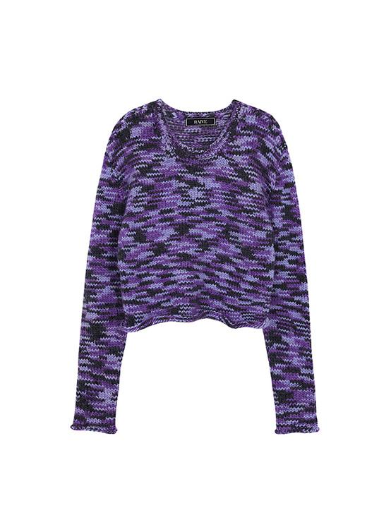 Multi Color Crop Knit in Purple Multi_VK0AP2250