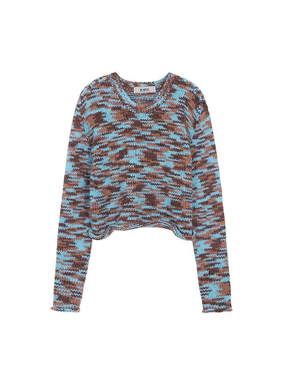 Multi Color Crop Knit in Brown Multi_VK0AP2250